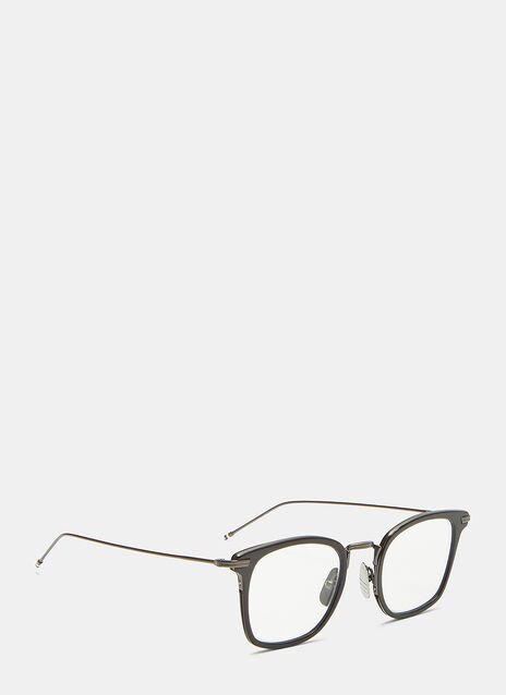 Thom Browne Gunmetal-Rimmed Square Framed Optical Glasses
