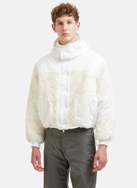 Floral Lace Overlay Hooded Sherpa Puffa Jacket