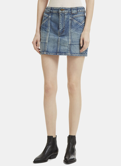 Saint Laurent Mini Patchwork Denim Skirt