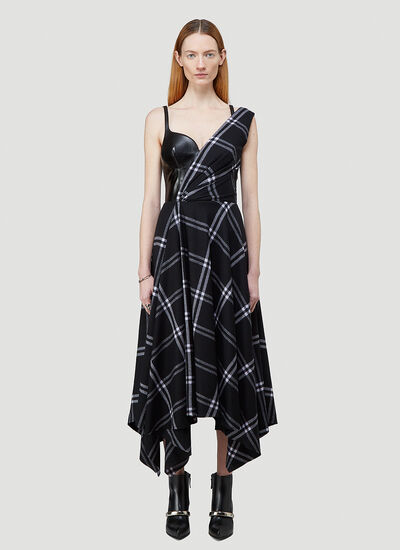Alexander McQueen Asymmetric Checked Dress