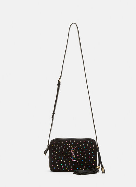 Saint Laurent Lou Rainbow Crystal Suede Satchel Bag