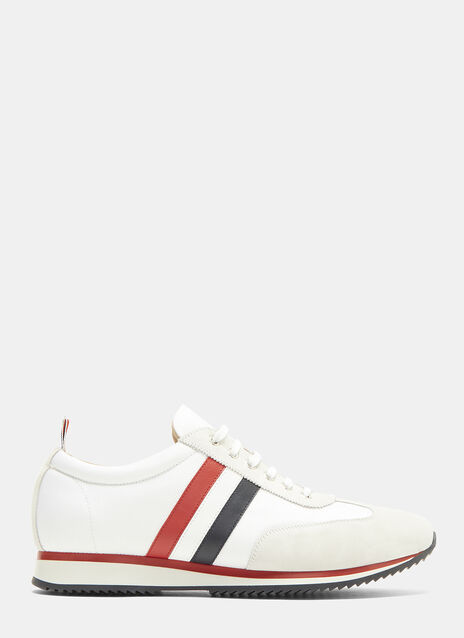 Thom Browne Suede Panelled Striped Web Running Sneakers