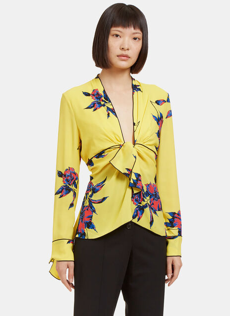 Lily Print Knot Tie Top