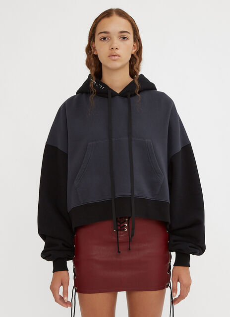 Unravel Project Hooded Terry Brushed Chopped Sweatshirt