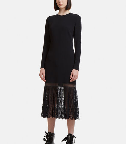 Pleated Lace Hem Dress