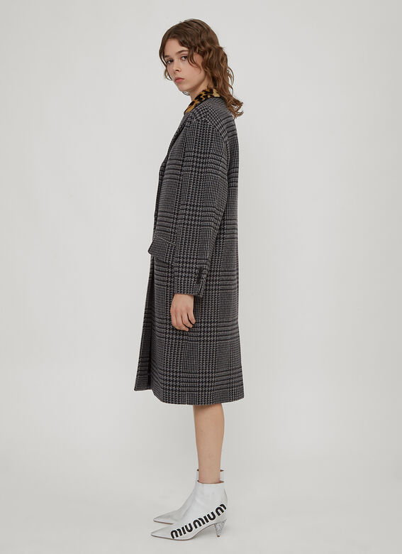 Miu Miu Houndstooth Single Breasted Coat