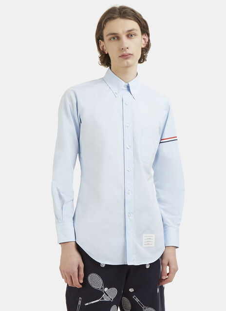 Thom Browne Hairline Striped Armband Poplin Shirt