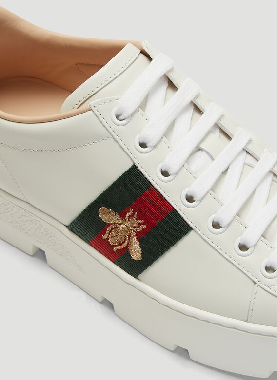 Gucci Ace Embroidered Leather Platform Sneakers 5