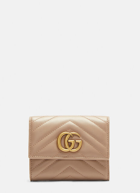 Gucci Marmont Fold-Over Snap Stud Wallet