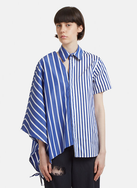 Facetasm Striped Asymmetrical Shirt