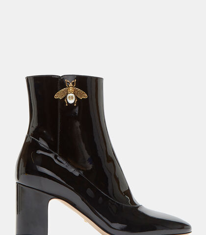 Gold Bee Motif Patent Ankle Boots