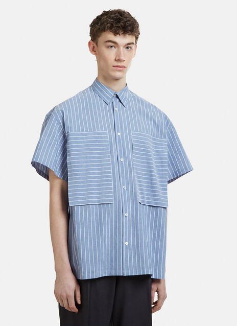 E.Tautz Short Sleeve Lineman Striped Pocket Shirt