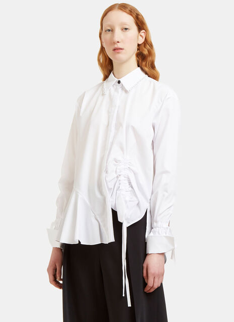 Abe Ruched Detail Chain Collared Shirt