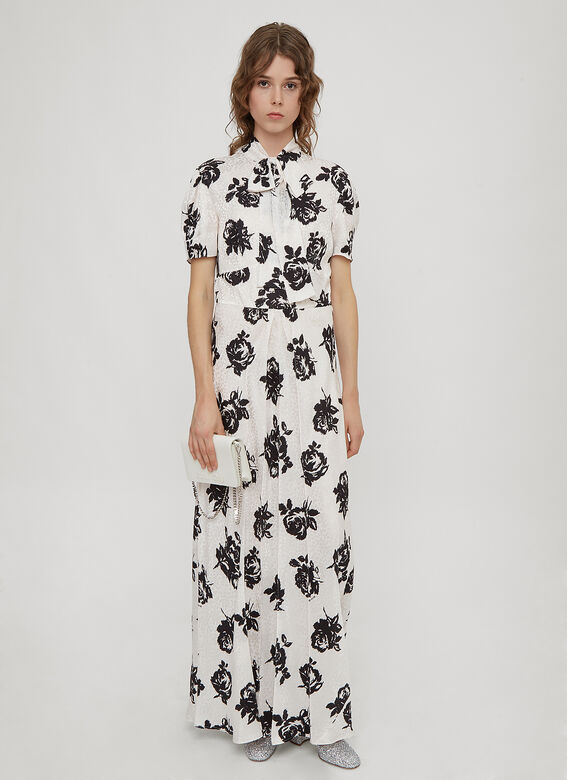 Miu Miu Jacquard Rose Print Dress