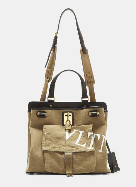 Valentino Canvas and Leather Tote Bag