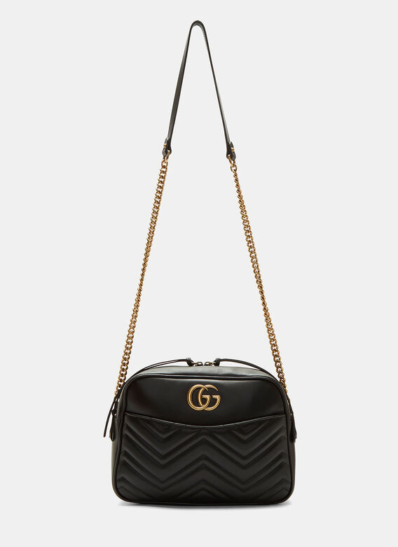 834d92d1c7b GG Marmont Matelassé Small Shoulder Bag in Black