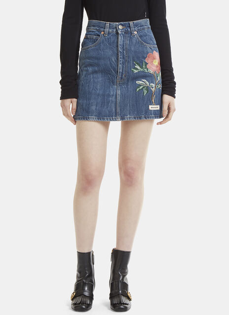 Gucci High Waist Flower Embroidered Mini Skirt