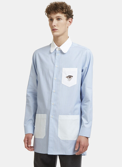Gucci Long Bird Embroidered Striped Shirt
