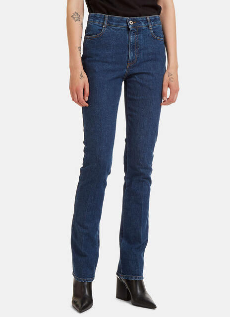 Central Pleat Straight Leg Jeans