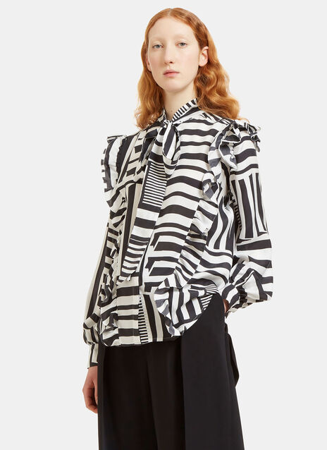 Billy Ruffled Grid Blouse