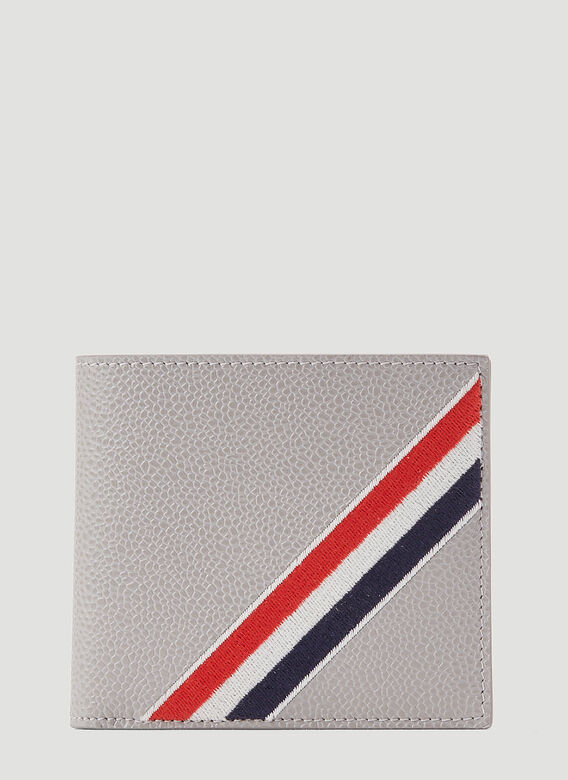 Thom Browne BILLFOLD W/ RWB DIAGONAL EMBROIDERY IN PEBBLE GRAIN LEATHER 1