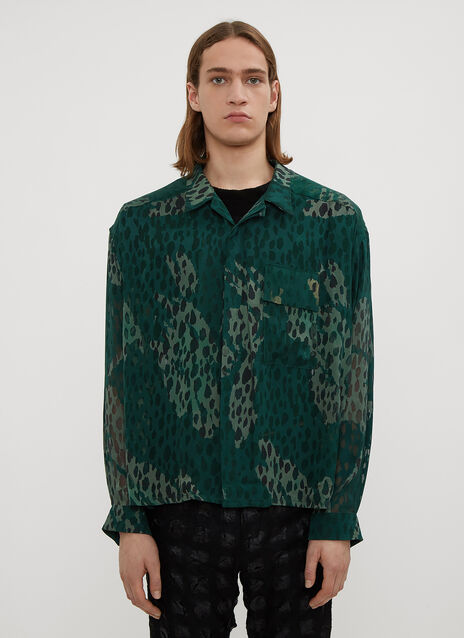 Hours Semi Sheer Camo Print Shirt