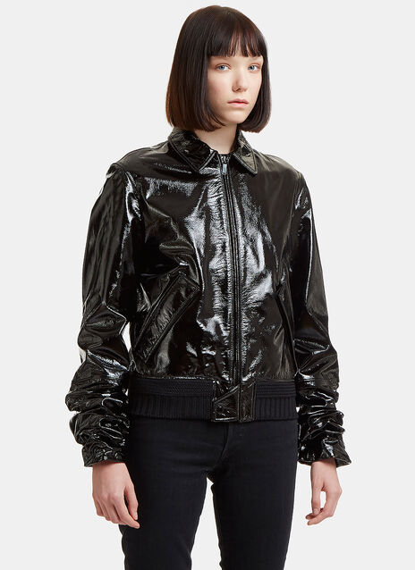 Patent Ruched Sleeve Blouson Jacket