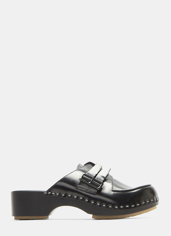 Adieu Type 113 Buckled Leather Clogs In Black Ln Cc