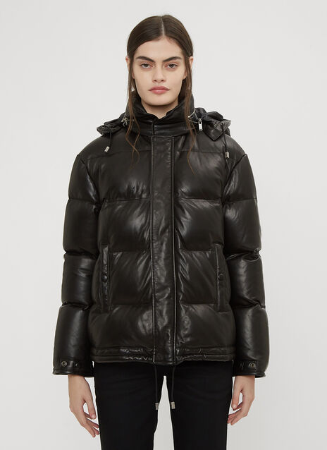 Saint Laurent Lambskin Leather Puffer Jacket