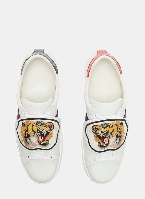 b0516c75ff58 Gucci Ace Removable Embroidered Tiger Patch Sneakers