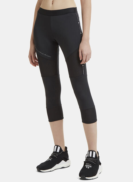 Adidas By Stella Mccartney Essential Cropped Mesh Panel Training Pants