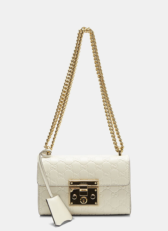 d12fe4592401 Gucci Padlock Small GG Shoulder Bag in White