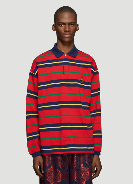 Gucci Striped Bee Long Sleeve Polo T-Shirt