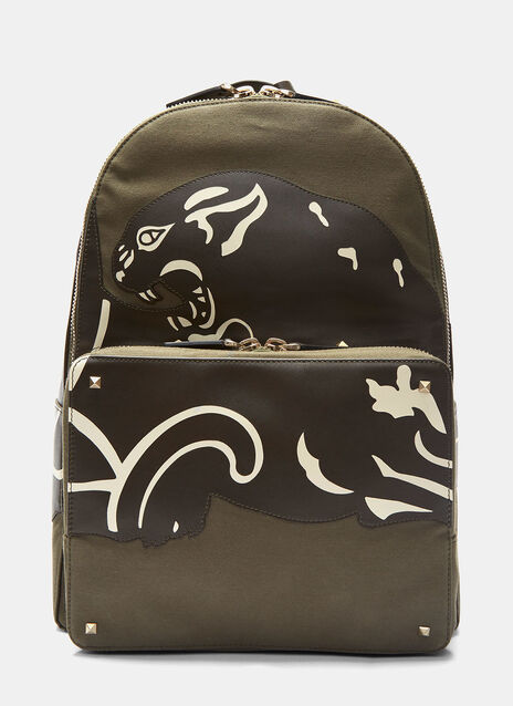 Leather Panther Patch Backpack