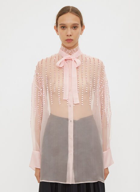 Valentino Embroidered Organza Shirt
