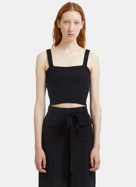 Valentino Cropped Ribbed Knit Top