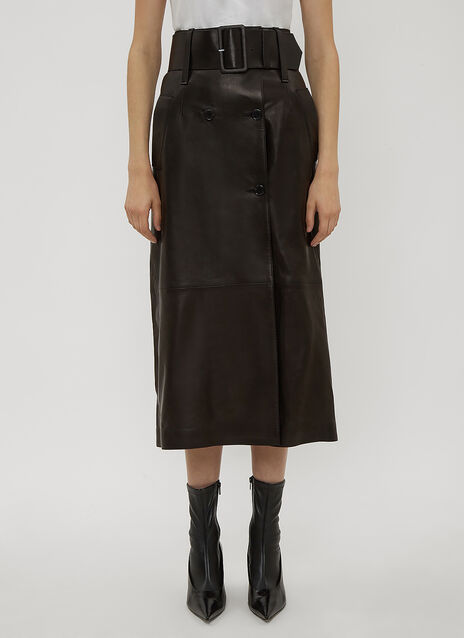 Yang Li Belted Leather Skirt