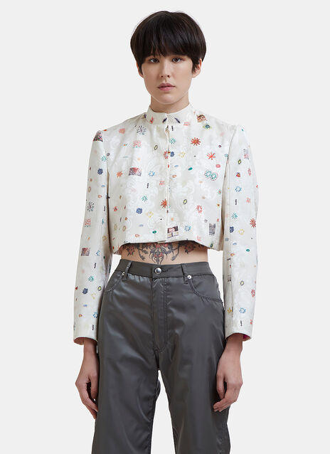 Cropped Jacquard Drawing Back-Frill Jacket