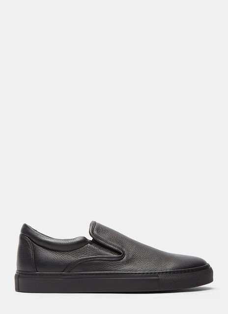 Aiezen Slip-On Grained Leather Sneakers