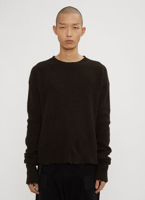 Unravel Project Boiled Crew Neck Ribbed Knit Sweater