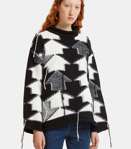 Loose Arrow Knit Roll Neck Sweater