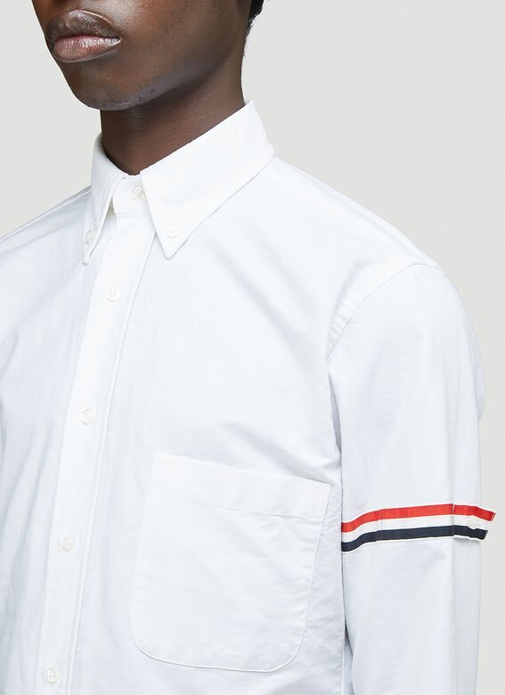 Thom Browne CLASSIC LONG SLEEVE BUTTON DOWN POINT COLLAR SHIRT W/ GG ARMBAND IN OXFORD 5