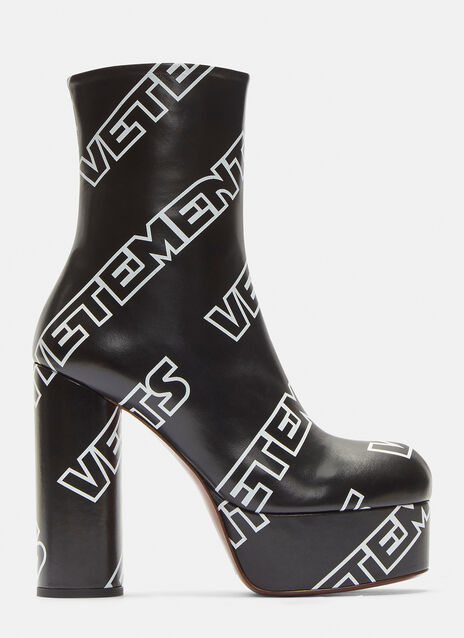 Vetements Logo Printed Platform Boots