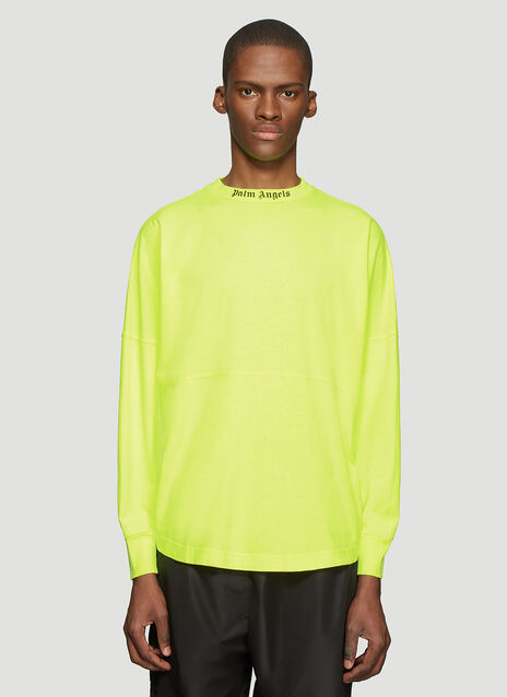 Palm Angels Fluro Logo Panel Long Sleeve T-Shirt