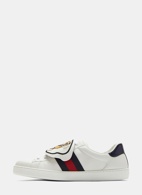 7bb636951 Gucci Ace Removable Embroidered Tiger Patch Sneakers