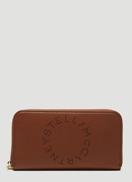 Stella McCartney Perforated Logo Zip-Around Wallet