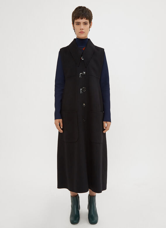 Marni Sleeveless Sharp Pointed Collar Overcoat