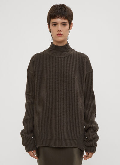 Rick Owens Fisherman Turtle Neck Knit Sweater