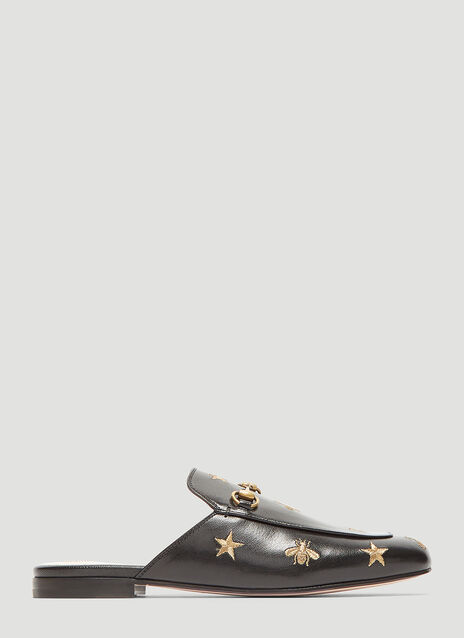 Gucci Princetown Bee & Star Embroidered Leather Backless Mules