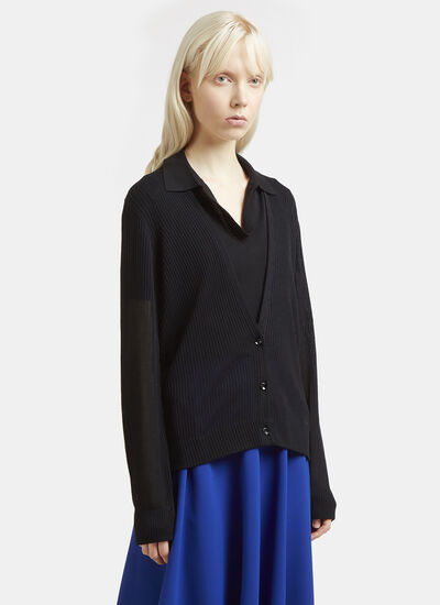 Maison Margiela Ribbed Knit Sheer Cardigan